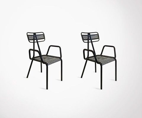 ALCAZARE Set of 2 outdoor metal chairs with armrests - Red Cartel