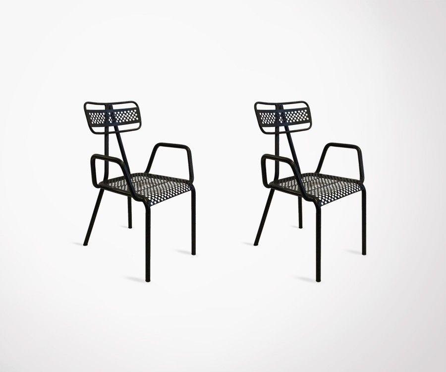 2 chaises extérieur métal avec accoudoirs ALCAZARE