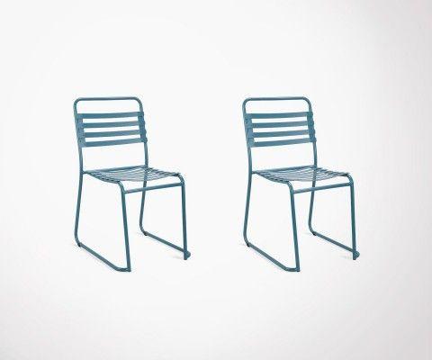 Lot 2 chaises extérieur en métal PARK - Red Cartel