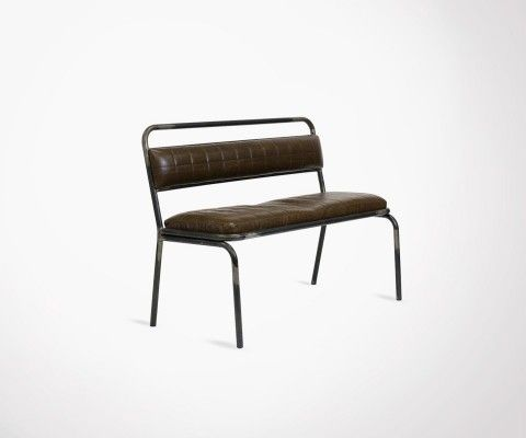 Upholstered seat and metal backrest bench AUSTERLITZ