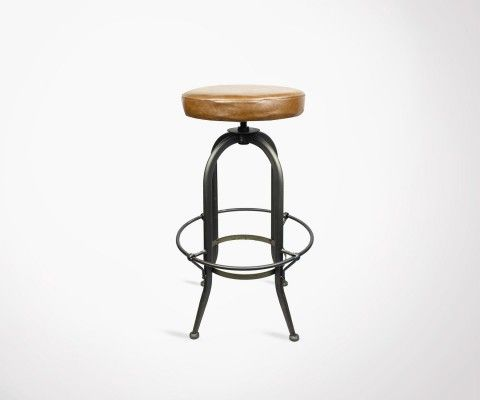 Metal stool 70cm adjustable seat leather CASSIDY - Red Cartel