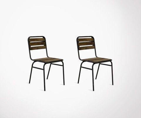 Lot 2 chaises design métal et bois CAMBERRA - Red Cartel