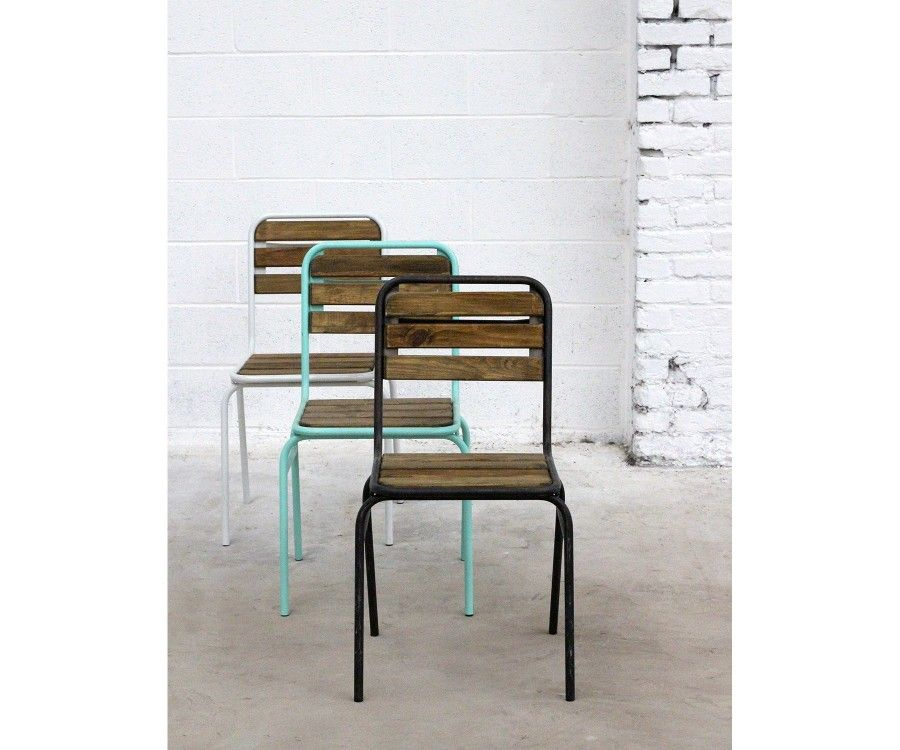 Lot 2 chaises design métal et bois CAMBERRA
