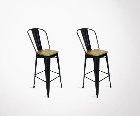 Lot 2 chaises de bar style café 117cm TUCKER