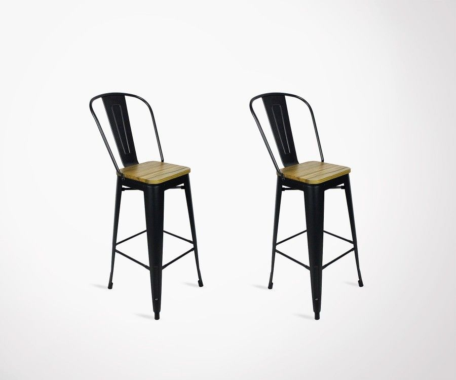 Lot 2 chaises de bar style café 117cm TUCKER & Set of 2 design bar chair cafe style 117cm by Red Cartel