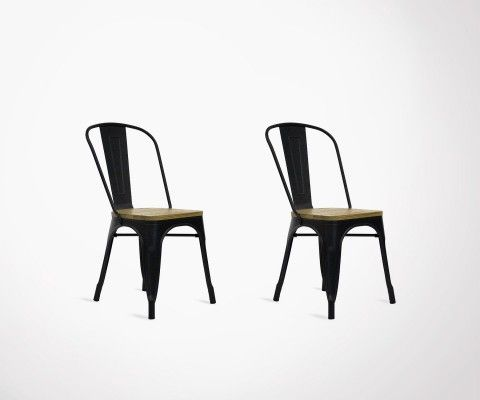 Set of 2 metal and wood industrial chair TUCKER