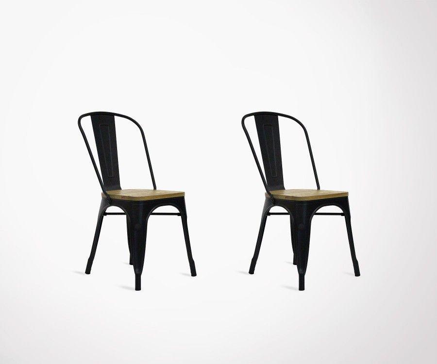 Lot 2 chaises métal bois style café TUCKER