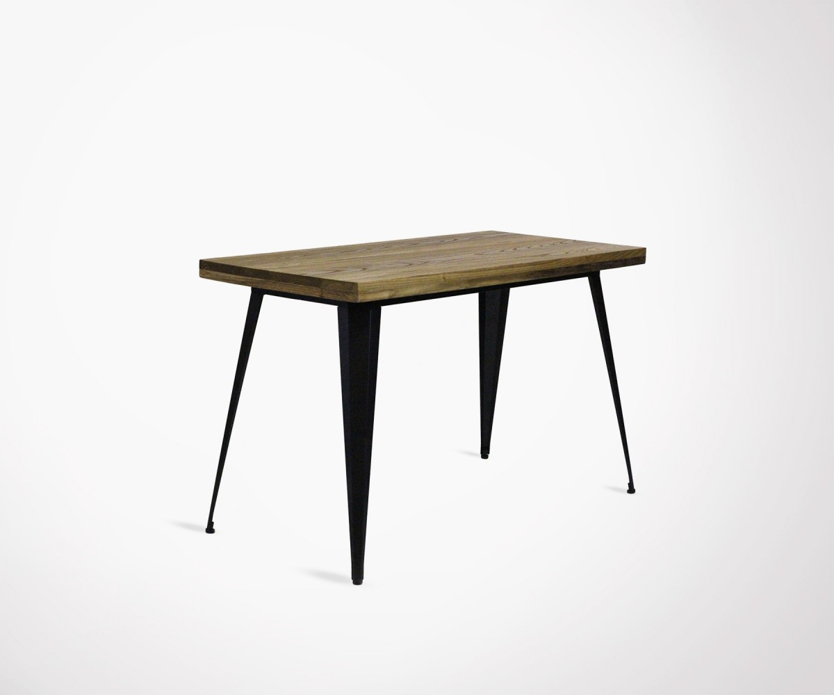 Large Dining Table For 6 Made From Metal And Wood 120cm Red Cartel