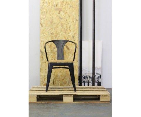 Lot 2 chaises avec accoudoirs métal bois SPLIT