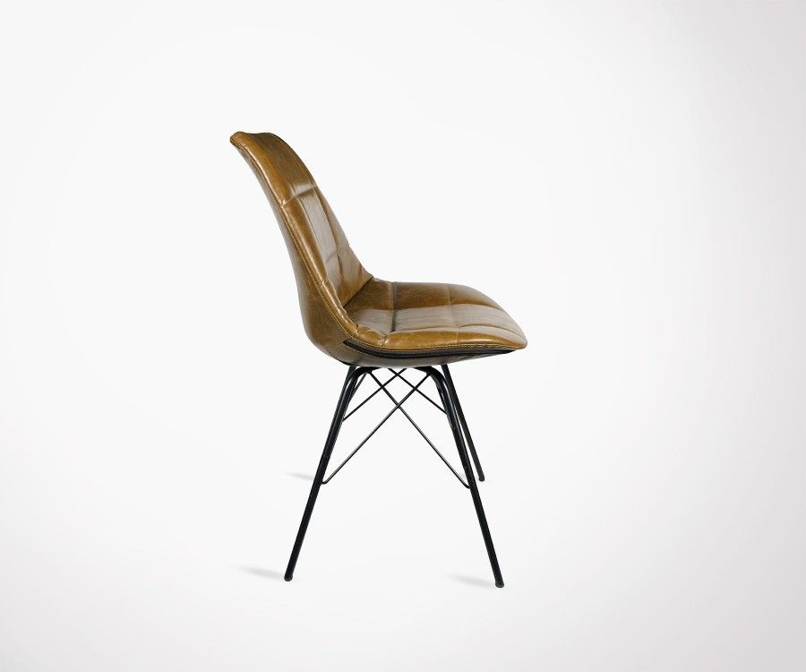 Lot 2 chaises rembourrées simili cuir marron STATEN