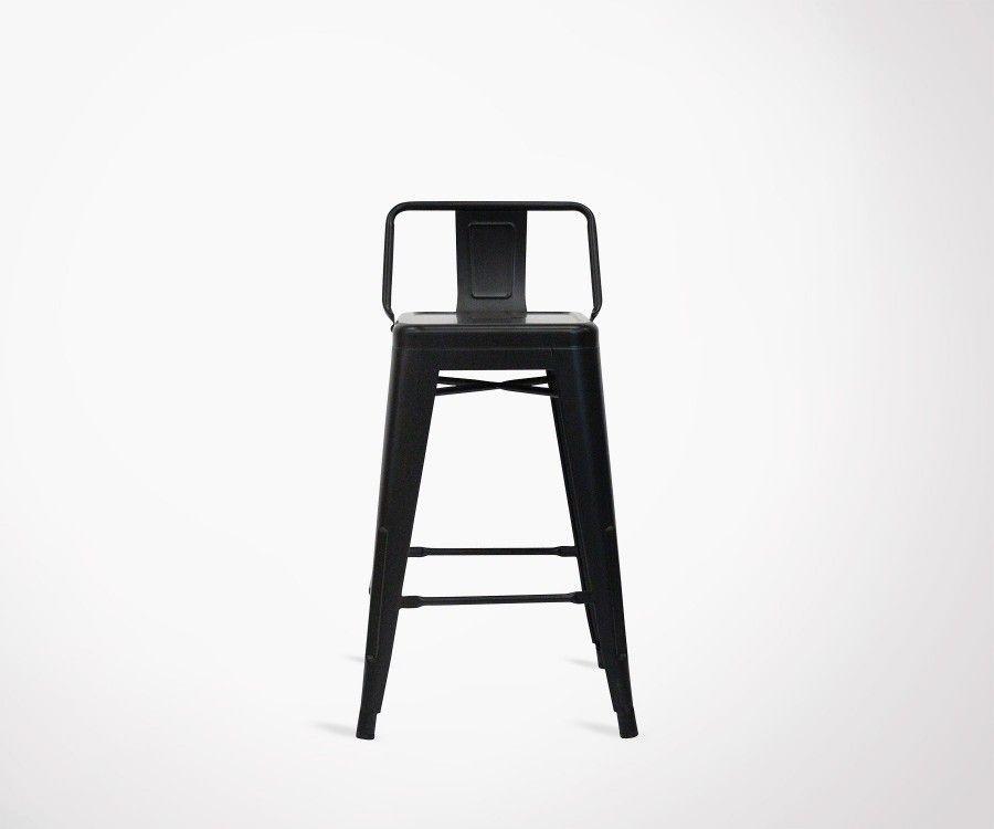 Lot 2 chaises de bar 61cm style industriel SPYCKER