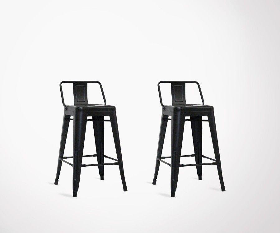 lot de 2 chaises de bar original en m tal noir 61cm style industriel. Black Bedroom Furniture Sets. Home Design Ideas