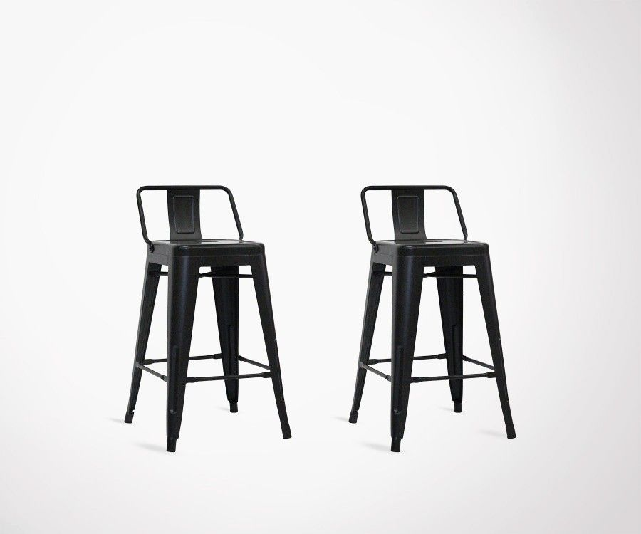 Lot 2 chaises de bar 61cm style industriel SPYCKER
