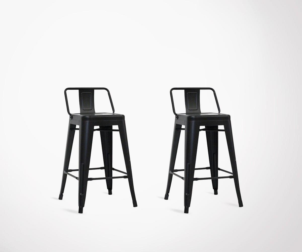 Lot de 2 chaises de bar original en m tal noir 61cm style industriel - Chaise de bar style industriel ...