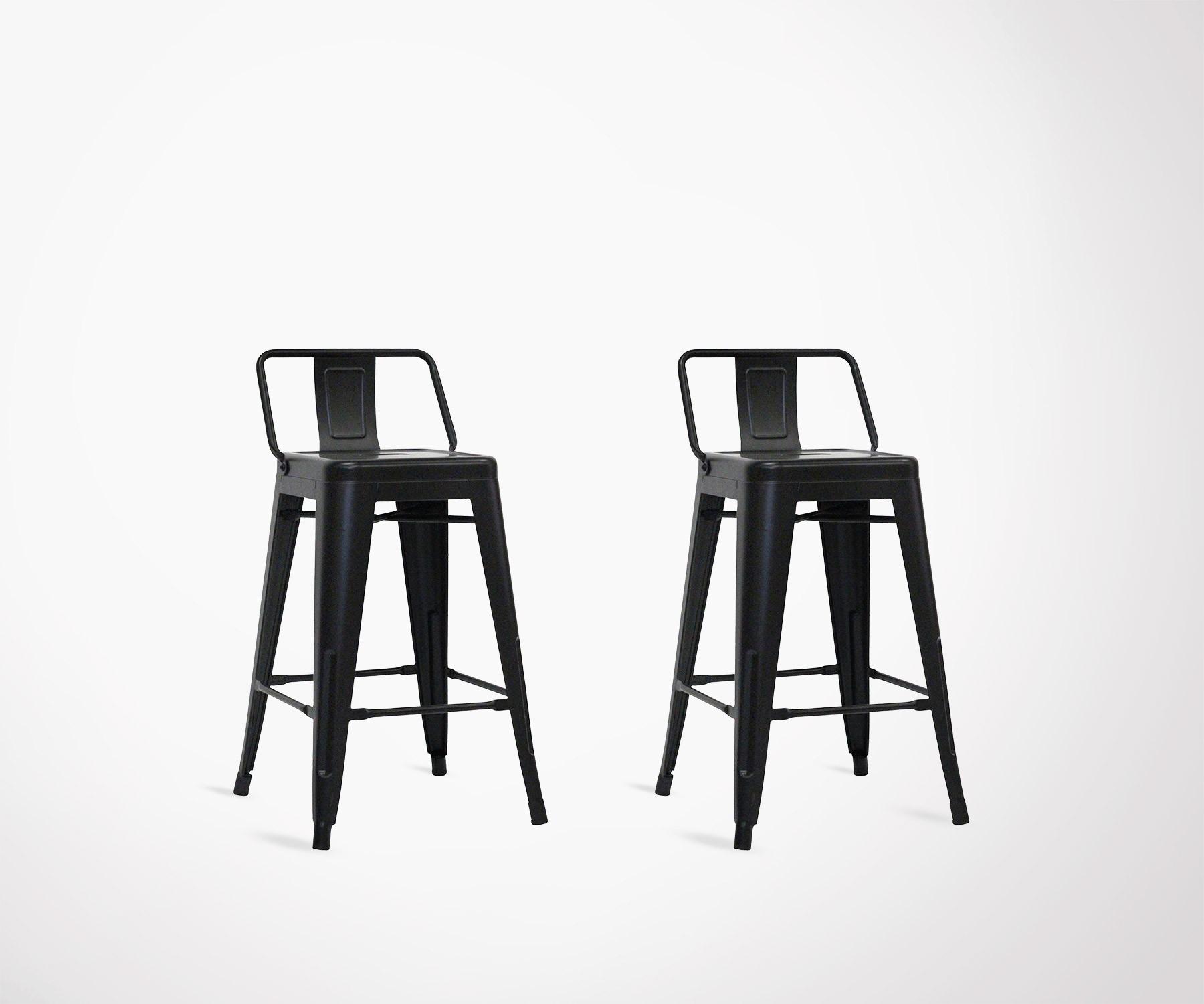 Lot de 2 chaises de bar original en métal noir 61cm style