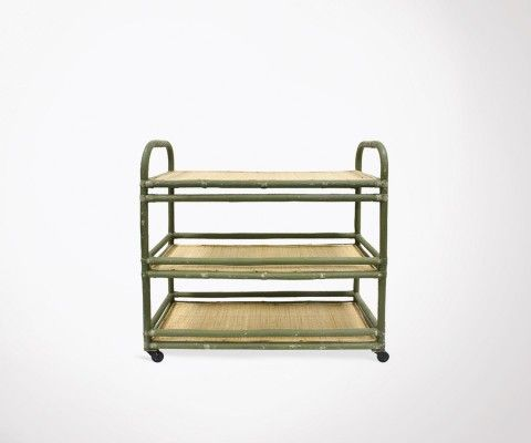 Rattan and green metal trolley KAZAMA - HK Living