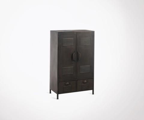 Petite armoire locker 107cm métal gris foncé CLAST