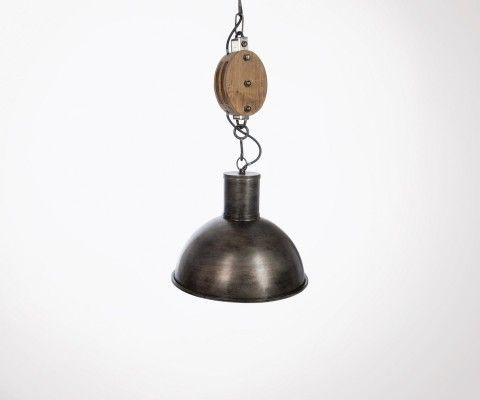Pendant lamp pulley metal wood PULLET