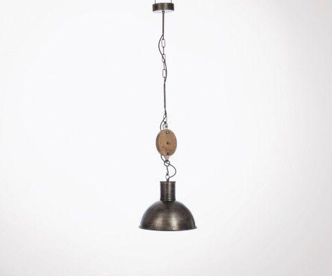 Lampe suspendue poulie metal bois PULLET