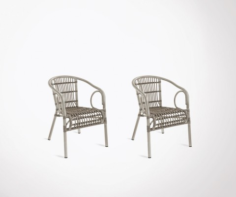 Set of 2 design ethnic outdoor chairs HILMA