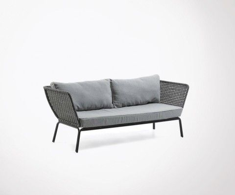 Garden sofa 3 seater 185cm gray rope ALAHU