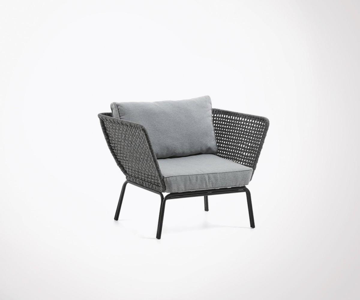 Fauteuil design intérieur/extérieur 94cm corde grise et pieds métal