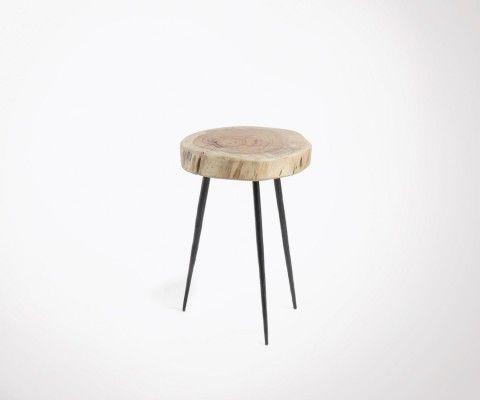 Table d'appoint style ethnique bois acacia BEBERE