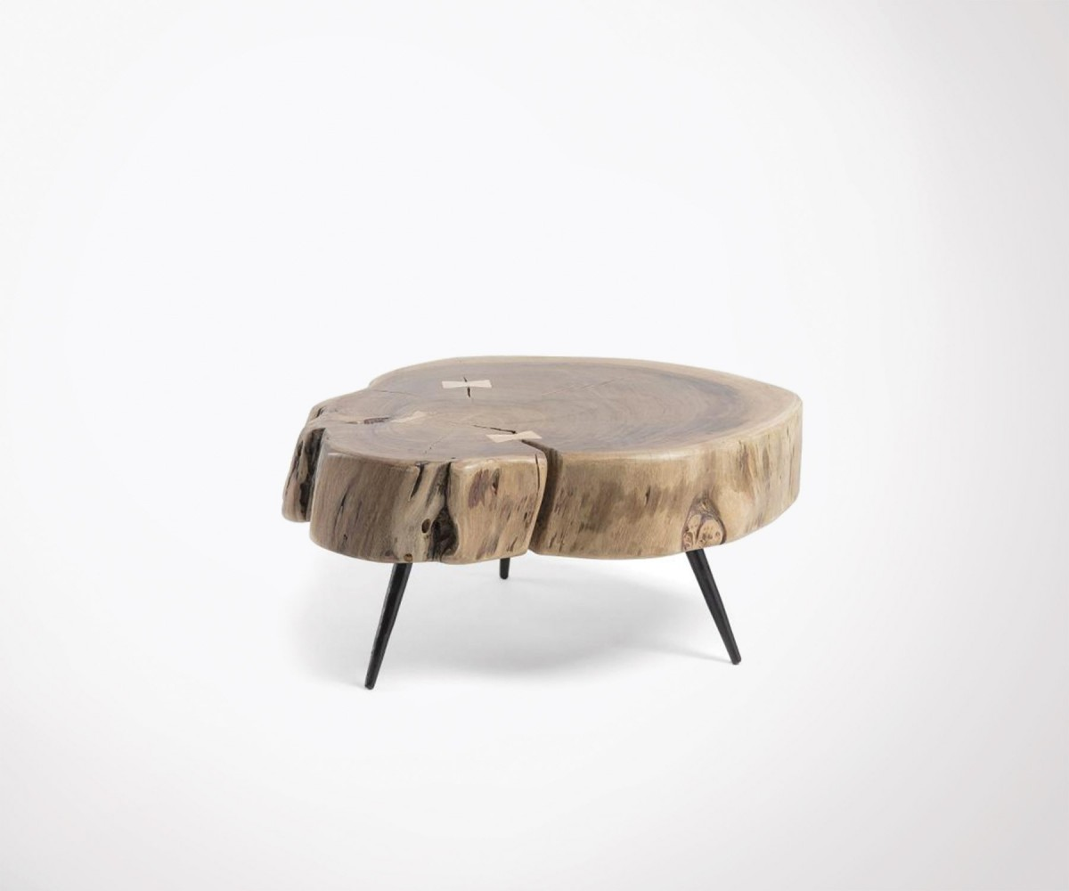 Table Basse 50cm Style Ethnique Bois Acacia VERINKY. Loading Zoom