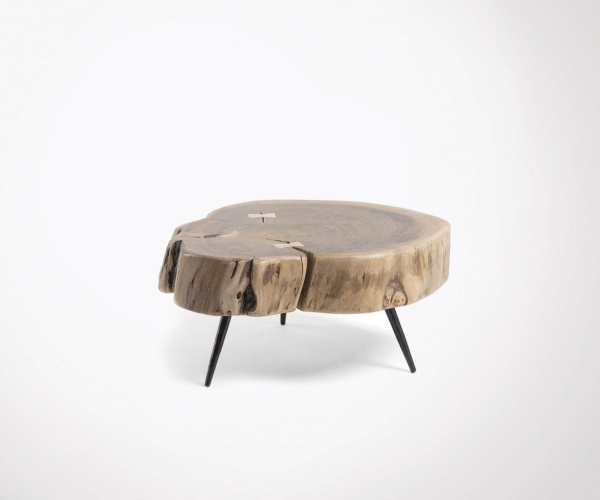 table basse 50cm style ethnique plateau en bois acacia et pieds m tal. Black Bedroom Furniture Sets. Home Design Ideas