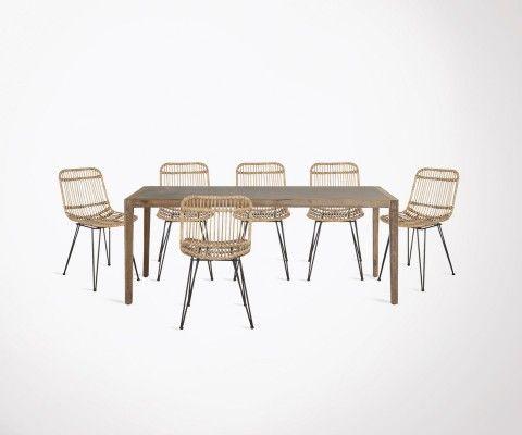 Table à manger 200cm SHEVY + 6 chaises effet rotin ELENA