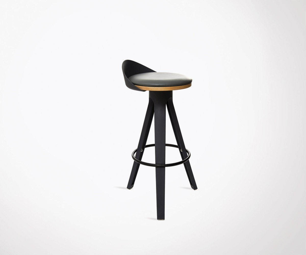tabouret de bar design moderne avec assise simili cuir noir et dossier. Black Bedroom Furniture Sets. Home Design Ideas