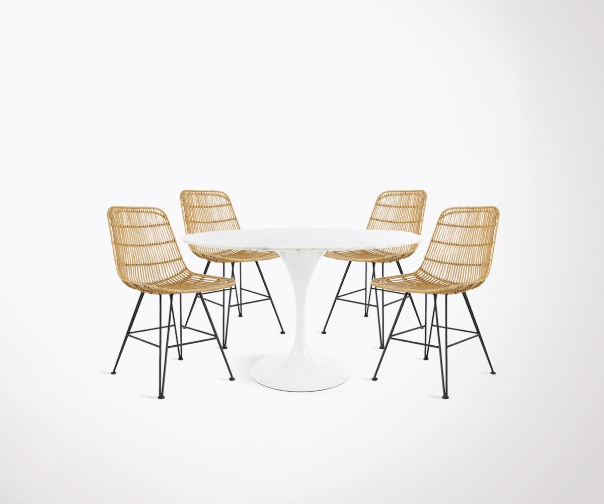 Dining Room Set 120cm Round Marble Table 4 Natural Rattan Chairs