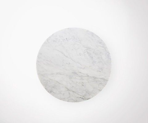 Table à manger marbre FLOWER 120cm + 4 chaises rotin RATTAN