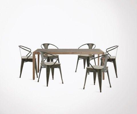 Table à manger 200cm SHEVY + 6 chaises design GIBSON