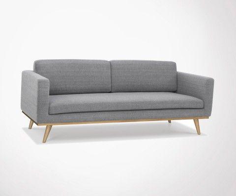 Modern 3 seater sofa dark gray fabric DEMETER