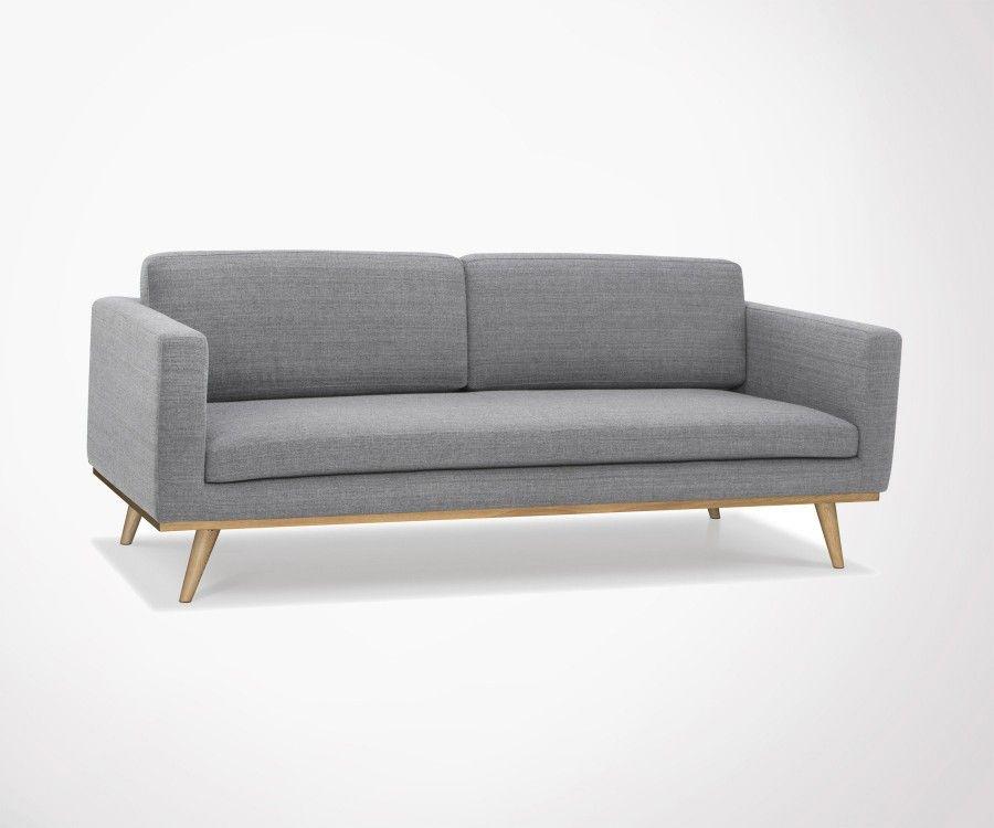 Canapé 3 places minimaliste tissu gris foncé DEMETER