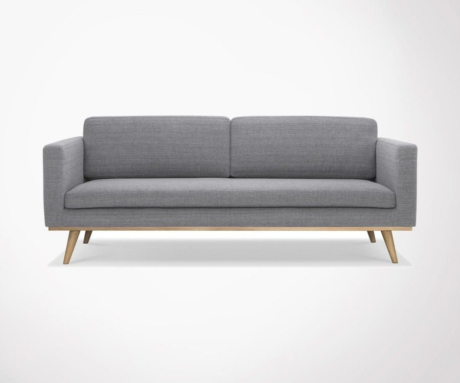 Modern 3 seater sofa dark gray fabric DEMETER