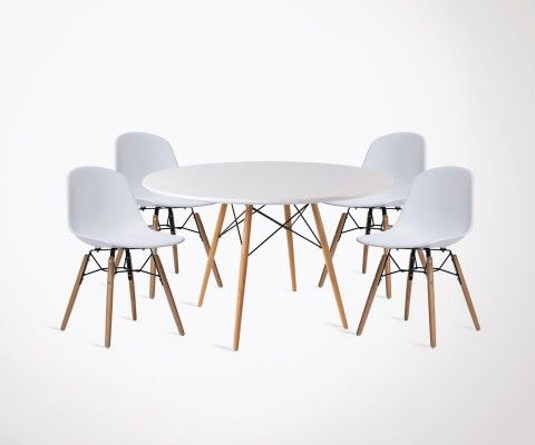 Table à manger scandinave DINING 90cm + 4 chaises FANNY
