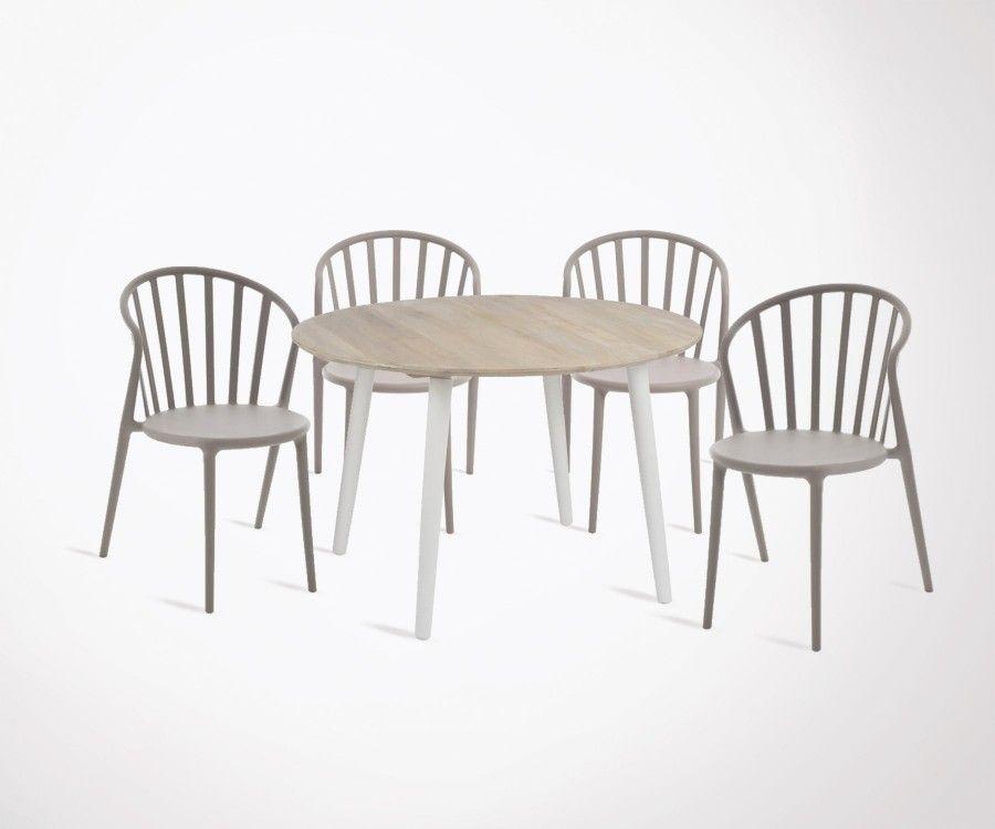 Table à manger moderne RONDO + 4 chaises plastiques ANDYL