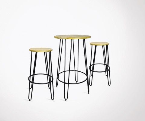 Standing bar + 2 industrial bar stools SCOOP
