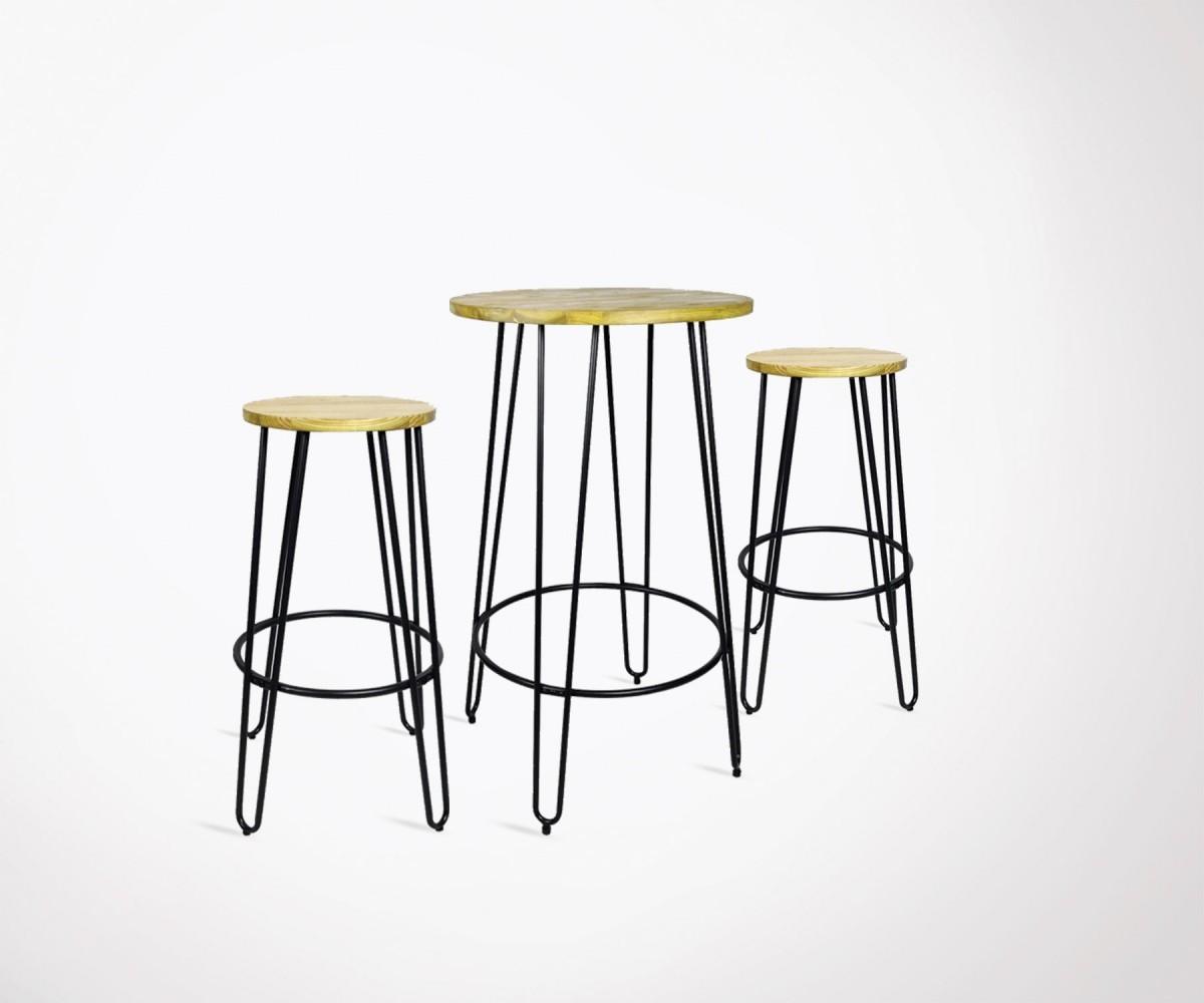 mange debout avec 2 tabourets de bar style industriel. Black Bedroom Furniture Sets. Home Design Ideas