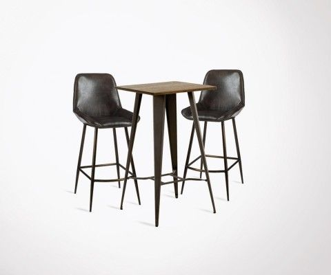 Table de bar COSTY + 2 chaises de bar DEUCE