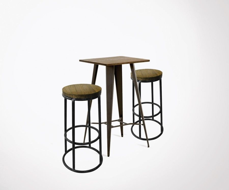 Table haute COSTY + 2 tabourets bar OLDEN