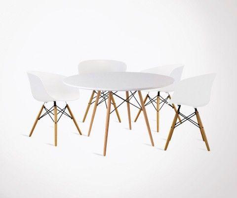 Table à manger 120cm DINING + 4 fauteuils design RAY