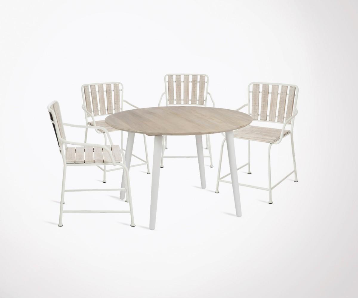 table manger 120cm moderne 4 chaises m tal et bois. Black Bedroom Furniture Sets. Home Design Ideas