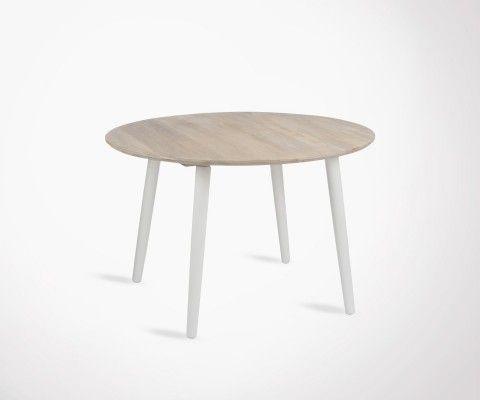 Table à manger moderne RONDO + 4 chaises bois blanc cérusé YOLANDE