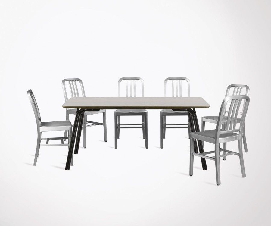 Table A Manger 180cm Plateau Poly Cement 6 Chaises Design Aluminium
