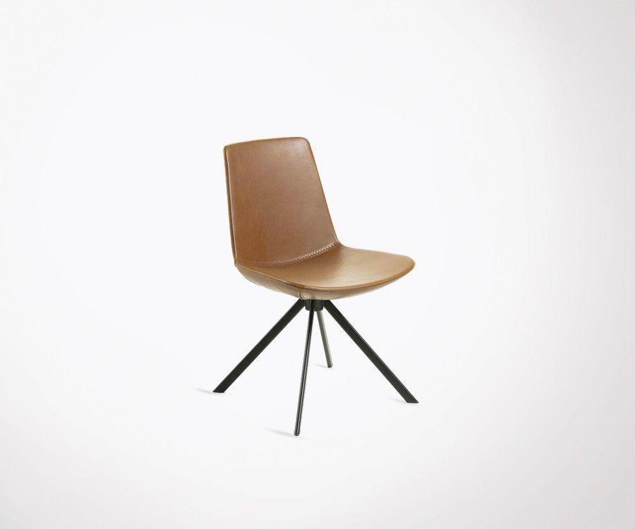 Chaise salle à manger simili cuir et métal DANBU