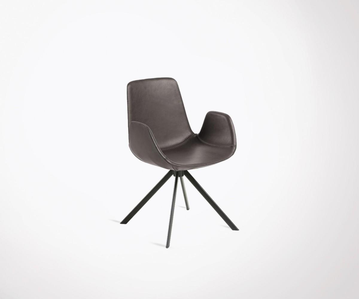 fauteuil salle manger simili cuir avec accoudoirs pieds acier noir. Black Bedroom Furniture Sets. Home Design Ideas