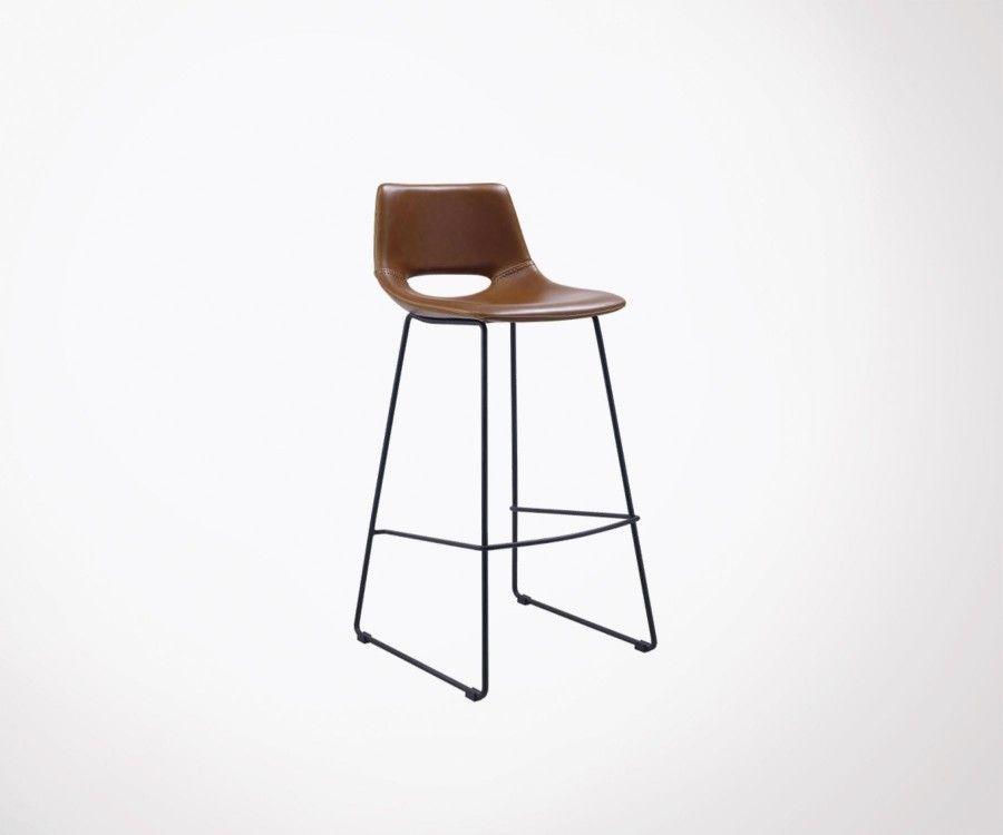 Tabouret design industriel moderne simili cuir HARA